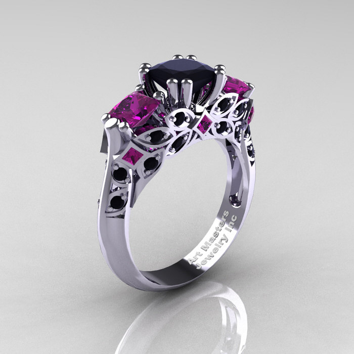 Classic 18k White Gold Three Stone Princess Black Diamond Amethyst Solitaire Ring R500