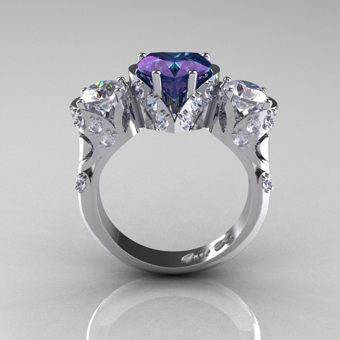 Scandinavian 14k White Gold 2 0 Ct Heart Alexandrite White Sapphire Diamond Three