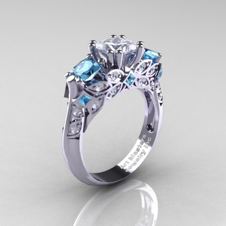 Classic 14K White Gold Three Stone Princess CZ Aquamarine Diamond Solitaire Engagement Ring R500-14KWGDAQCZ-1
