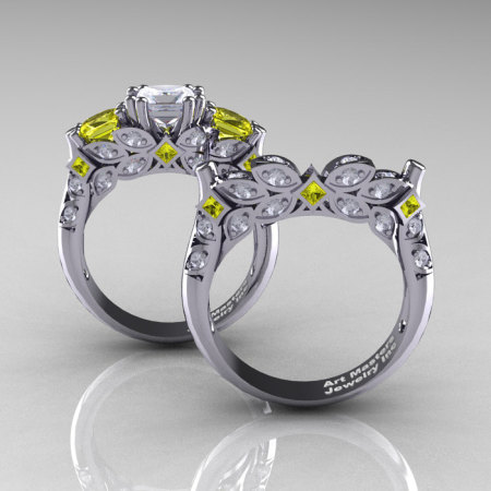 Classic 18K White Gold Three Stone Princess White and Yellow Sapphire Solitaire Engagement Ring Wedding Band Set R500S-18KWGYSWS-1