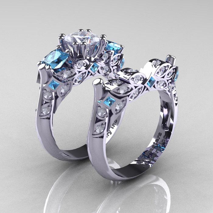 Classic 14k White Gold Three Stone Princess Cz Aquamarine Diamond Solitaire Engagement Ring Wedding Band Set R500s 14kwgdaqcz Art Masters Jewelry