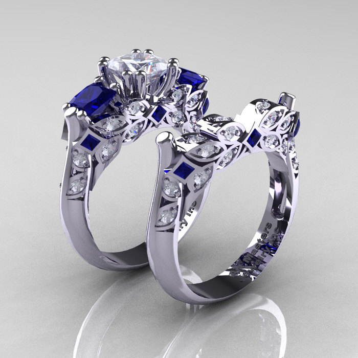 Classic 14k white gold three stone princess white and blue for Sapphire engagement ring and wedding band set