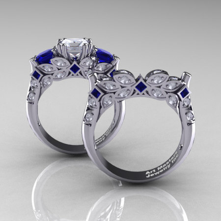 Classic 14K White Gold Three Stone Princess White and Blue Sapphire Diamond Solitaire Engagement Ring Wedding Band Set R500S-14KWGDBSWS-1
