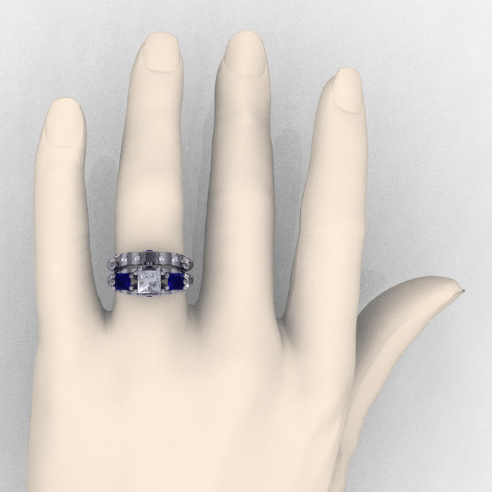 Classic 14K White Gold Three Stone Princess White and Blue Sapphire