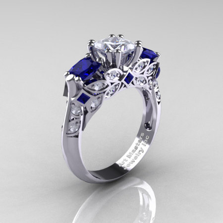 Classic 14K White Gold Three Stone Princess White and Blue Sapphire Diamond Solitaire Engagement Ring R500-14KWGDBSWS-1