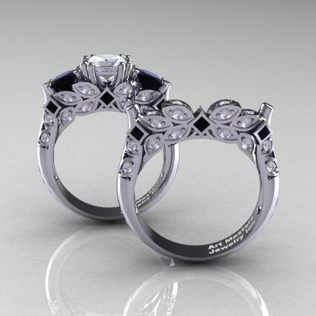 Classic 14K White Gold Three Stone Princess CZ Black and White Diamond Solitaire Engagement Ring Wedding Band Set R500S-14KWGDBDCZ-1