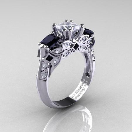 Classic 14K White Gold Three Stone Princess CZ Black and White Diamond Solitaire Engagement Ring R500-14KWGDBDCZ-1
