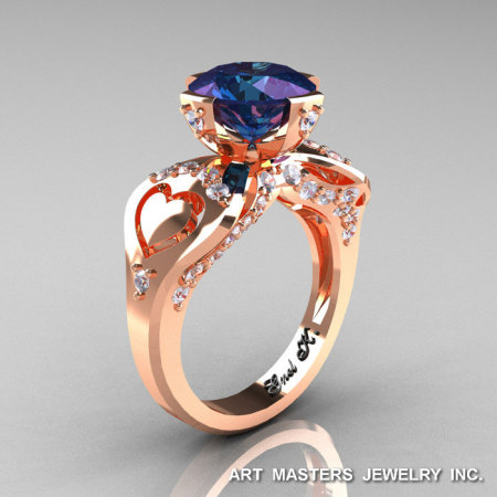 Modern Victorian 14K Rose Gold 3.0 Ct Russian Alexandrite Diamond Solitaire Ring R248-14KRGDAL-1