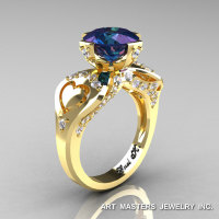 Modern Victorian 14K Yellow Gold 3.0 Ct Russian Alexandrite Diamond Solitaire Ring R248-14KYGDAL-1