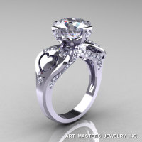 Modern Victorian 14K White Gold 3.0 Ct Cubic Zirconia Diamond Solitaire Ring R248-14KWGDCZ-1