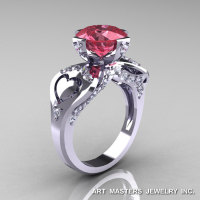 Modern Victorian 14K White Gold 3.0 Ct Light Tourmaline Diamond Solitaire Ring R248-14KWGDLT-1