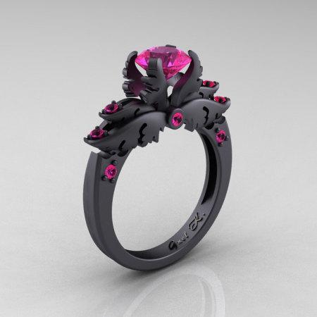 Classic Angel 14K Matte Black Gold 1.0 Carat Pink Sapphire Solitaire Engagement Ring R482-14KMBGPS-1