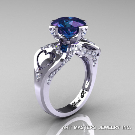 Modern Victorian 14K White Gold 3.0 Ct Russian Alexandrite Diamond Solitaire Ring R248-14KWGDAL-1