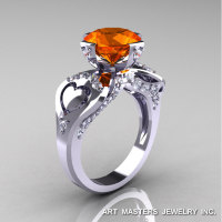 Modern Victorian 14K White Gold 3.0 Ct Padparadscha Sapphire Diamond Solitaire Ring R248-14KWGDPAS-1
