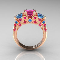 Classic 18K Rose Gold Three Stone Princess Pink Sapphire Blue Topaz Solitaire Engagement Ring R500-18KRGBTPS-1