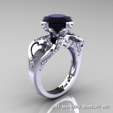 Modern Victorian 14K White Gold 3.0 Ct Black and White Diamond Solitaire Ring R248-14KWGDBD-1
