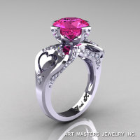 Modern Victorian 14K White Gold 3.0 Ct Pink Sapphire Diamond Solitaire Ring R248-14KWGDPS-1