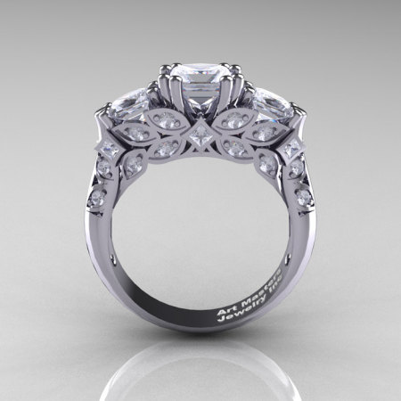 Classic 14K White Gold Three Stone Princess Cubic Zirconia Diamond Solitaire Engagement Ring R500-14KWGDCZ-1
