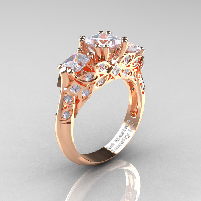 Classic 14k Rose Gold Three Stone Princess Cubic Zirconia