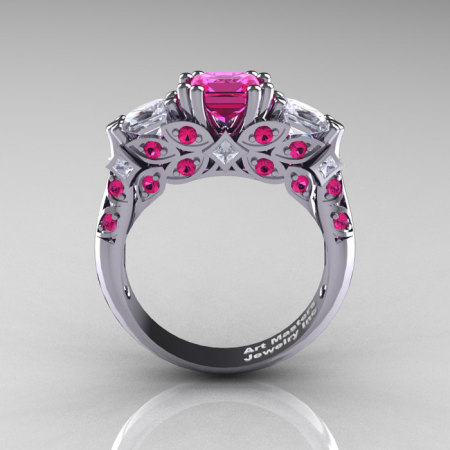 Classic 14K White Gold Three Stone Princess Pink and White Sapphire Solitaire Engagement Ring R500-14KWGWSPS-1