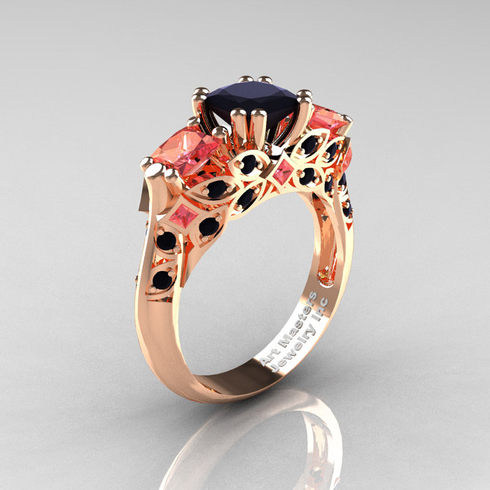 Classic 14k Rose Gold Three Stone Princess Black Diamond
