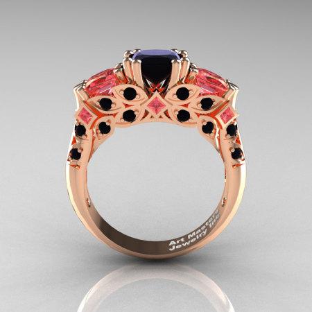 Classic 14K Rose Gold Three Stone Princess Black Diamond Peach Sapphire Solitaire Engagement Ring R500-14KRGPESBD-1