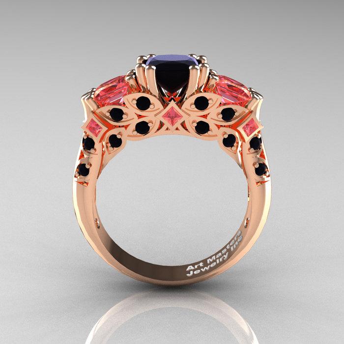 Classic 14K Rose Gold Three Stone Princess Black Diamond Peach Sapphire Solit