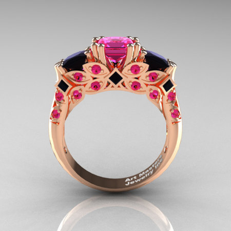 Classic 14K Rose Gold Three Stone Princess Pink Sapphire Black Diamond Solitaire Engagement Ring R500-14KRGBDPS-1