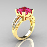 French Vintage 14K Yellow Gold 3.8 Carat Princess Pink Sapphire Diamond Solitaire Ring R222-YGDPS-1