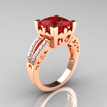 French Vintage 14K Rose Gold 3.8 Carat Princess Ruby Diamond Solitaire Ring R222-RGDR-1