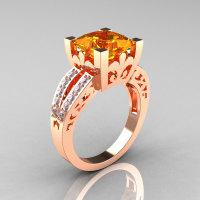 French Vintage 14K Rose Gold 3.8 Carat Princess Citrine Diamond Solitaire Ring R222-RGDCI-1