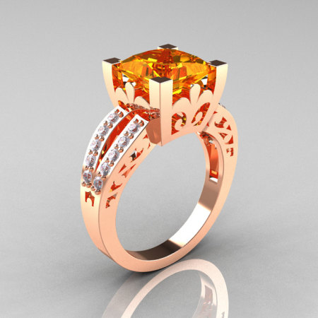 French Vintage 14K Rose Gold 3.8 Carat Princess Citrine Diamond Solitaire Ring R222-RGDCI-1