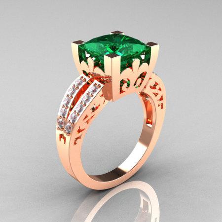 French Vintage 14K Rose Gold 3.8 Carat Princess Emerald Diamond Solitaire Ring R222-RGDEM-1