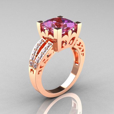 French Vintage 14K Rose Gold 3.8 Carat Princess Lilac Amethyst Diamond Solitaire Ring R222-RGDLA-1