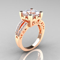 French Vintage 14K Rose Gold Princess Cubic Zirconia Diamond Solitaire Ring R222-RGDCZ-1