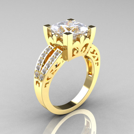 French Vintage 14K Yellow Gold Princess Cubic Zirconia Diamond Solitaire Ring R222-YGDCZ-1