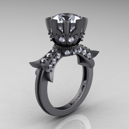 Modern Vintage 14K Gray Gold 3.0 Carat Cubic Zirconia Solitaire Engagement Ring R253-14K GGCZ-1