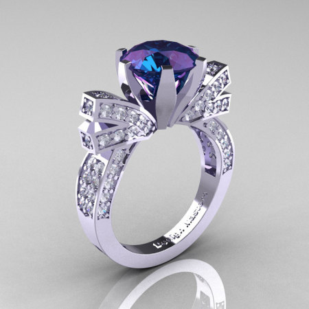 French 14K White Gold 3.0 CT Russian Alexandrite Diamond Engagement Ring Wedding Ring R382-14KWGDAL-1