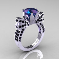 French 14K White Gold 3.0 CT Russian Alexandrite Black Diamond Engagement Ring Wedding Ring R382-14KWGBDAL-1