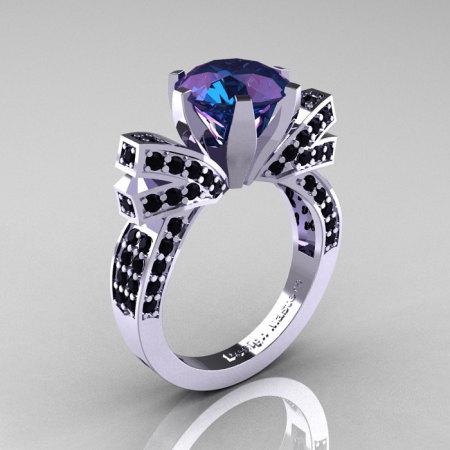 French 14K White Gold 3.0 CT Russian Alexandrite Black Diamond Engagement Ring Wedding Ring R382-14KWGBDAL-1