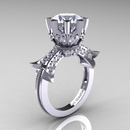 Modern Vintage 14K White Gold 3.0 Ct White Sapphire Solitaire Engagement Ring R253-14KWGWS-1