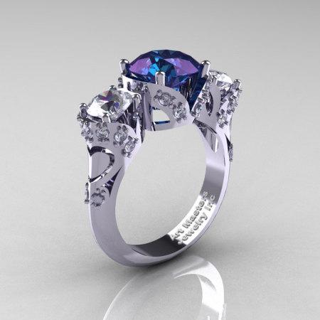Scandinavian 14K White Gold 2.0 Ct Alexandrite White Sapphire Diamond Three Stone Designer Engagement Ring R406-14KWGDWSAL-1