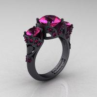 Scandinavian 14K Matte Black Gold 2.0 Ct Pink Sapphire Three Stone Designer Engagement Ring R406-14KMBGPS-1