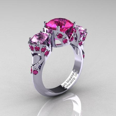 Scandinavian 950 Platinum 2.0 Ct Pink and Light Pink Sapphire Three Stone Designer Engagement Ring R406-PLATLPSPS-1