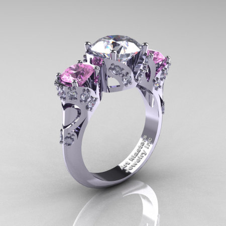 Scandinavian 14K White Gold 2.0 Ct White and Light Pink Sapphire Diamond Three Stone Designer Engagement Ring R406-14KWGDLPSWS-1