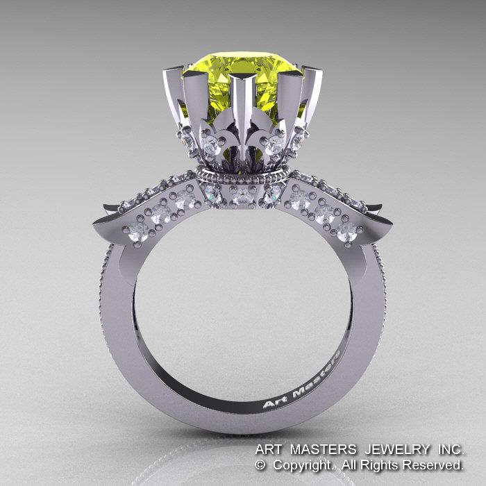 modern vintage 14k white gold 30 ct yellow topaz diamond