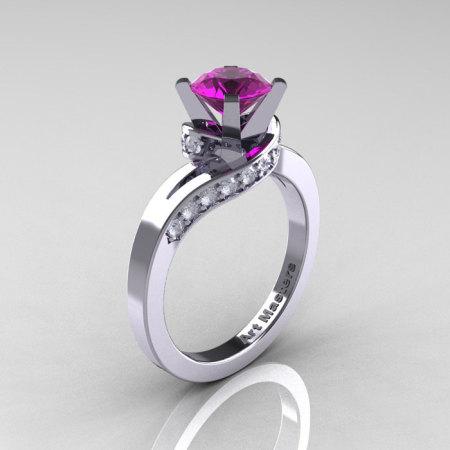 Classic 14K White Gold 1.0 Ct Amethyst Diamond Designer Solitaire Ring R259-14KWGDAM-1