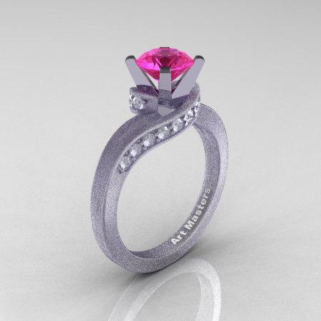 Classic 14K Matte White Gold 1.0 Ct Pink Sapphire Diamond Designer Solitaire Ring R259-14KMWGDPS-1