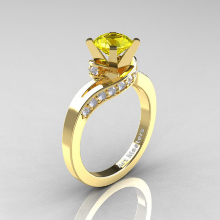 Classic 14K Yellow Gold 1.0 Ct Yellow Sapphire Diamond Designer Solitaire Ring R259-14KYGDYS-1