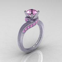 Classic 14K Matte White Gold 1.0 Ct Ligh Pink Sapphire Designer Solitaire Ring R259-14KMWGLPS-1